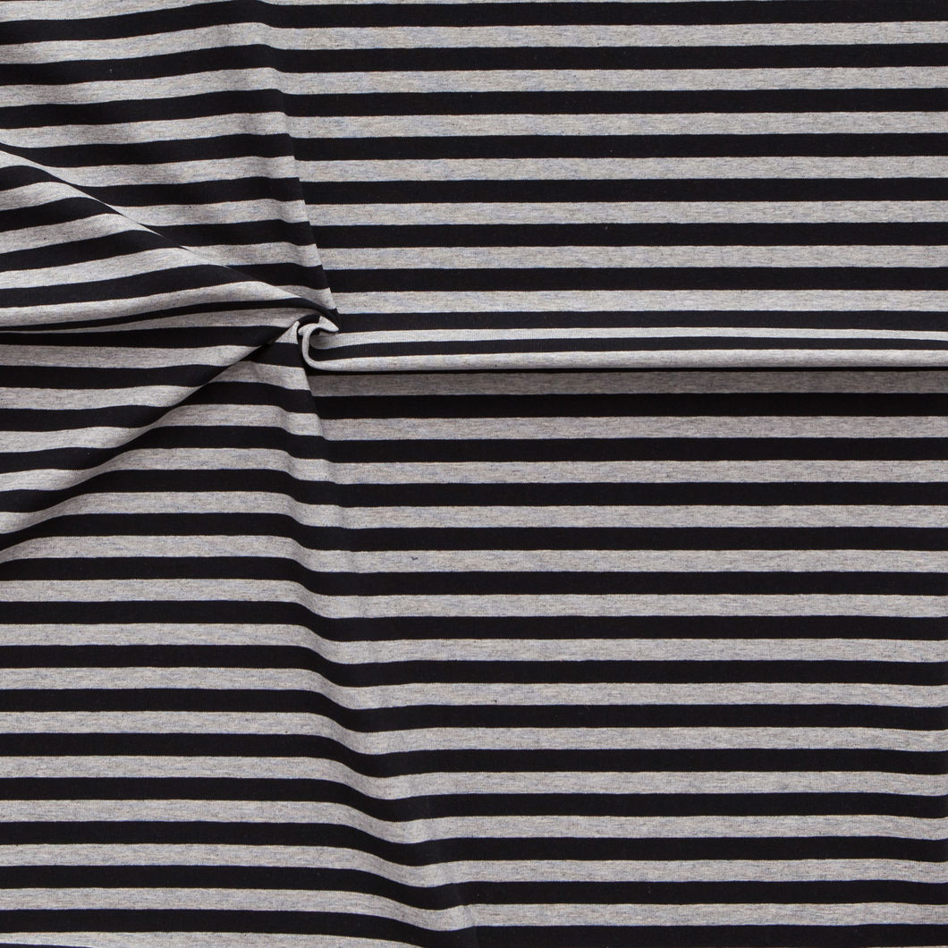 Midi Stripes Jersey, Black - Mel. Gray