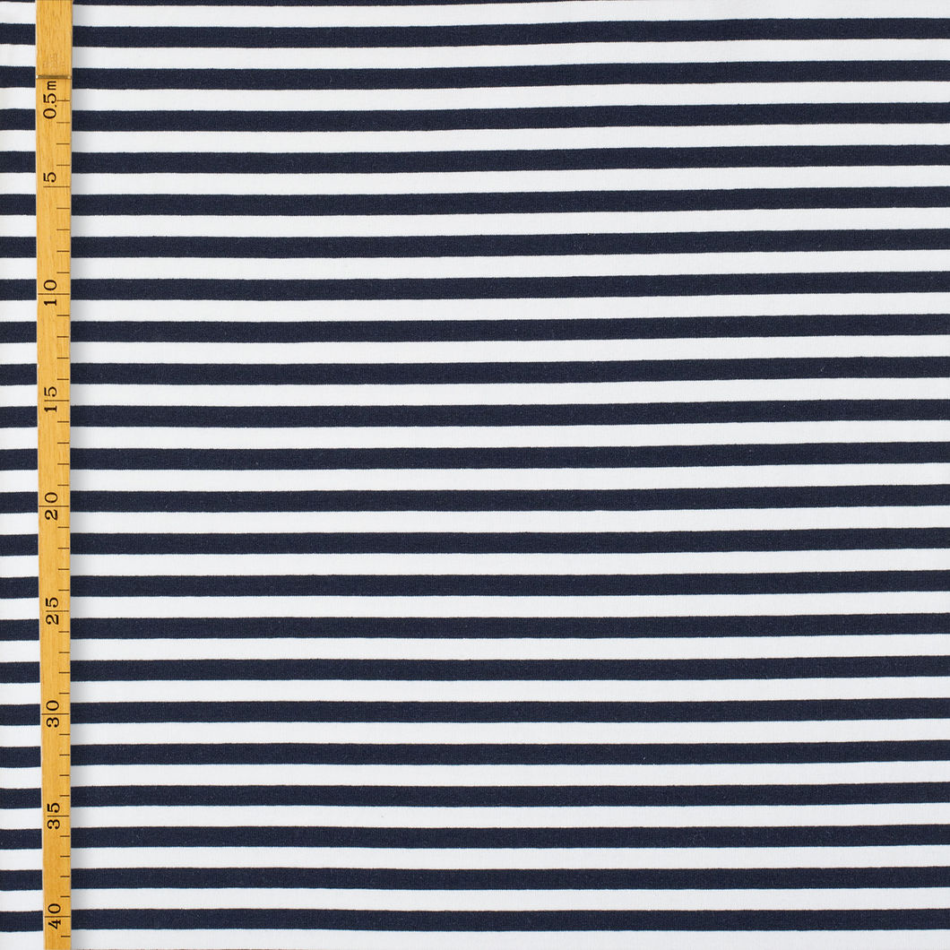 Stripe Stretch Sweatshirting, Vanilla - Navy
